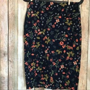Lularoe Cassie XS Floral Navy Coral Stretchy